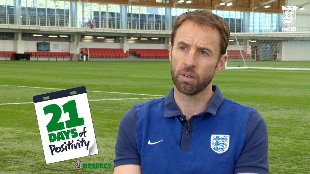 Gareth Southgate discusses the FA's 21 days of positivity initiative