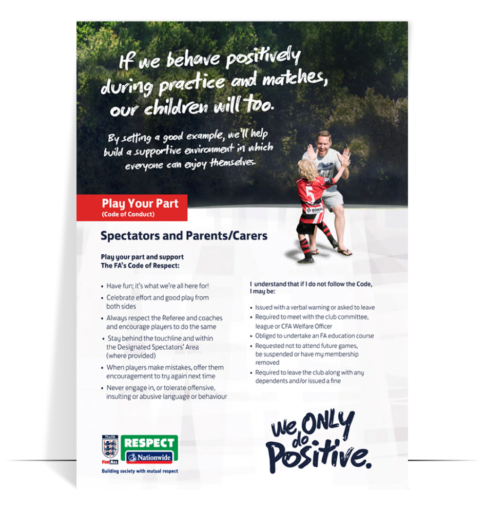 fa respect code of conduct spectators and parents