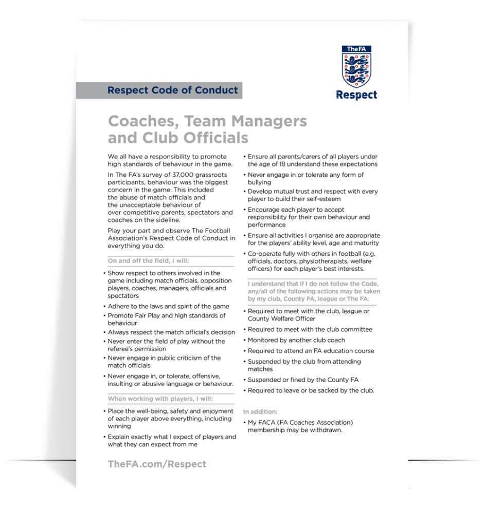 fa respect guidelines coaches and officials