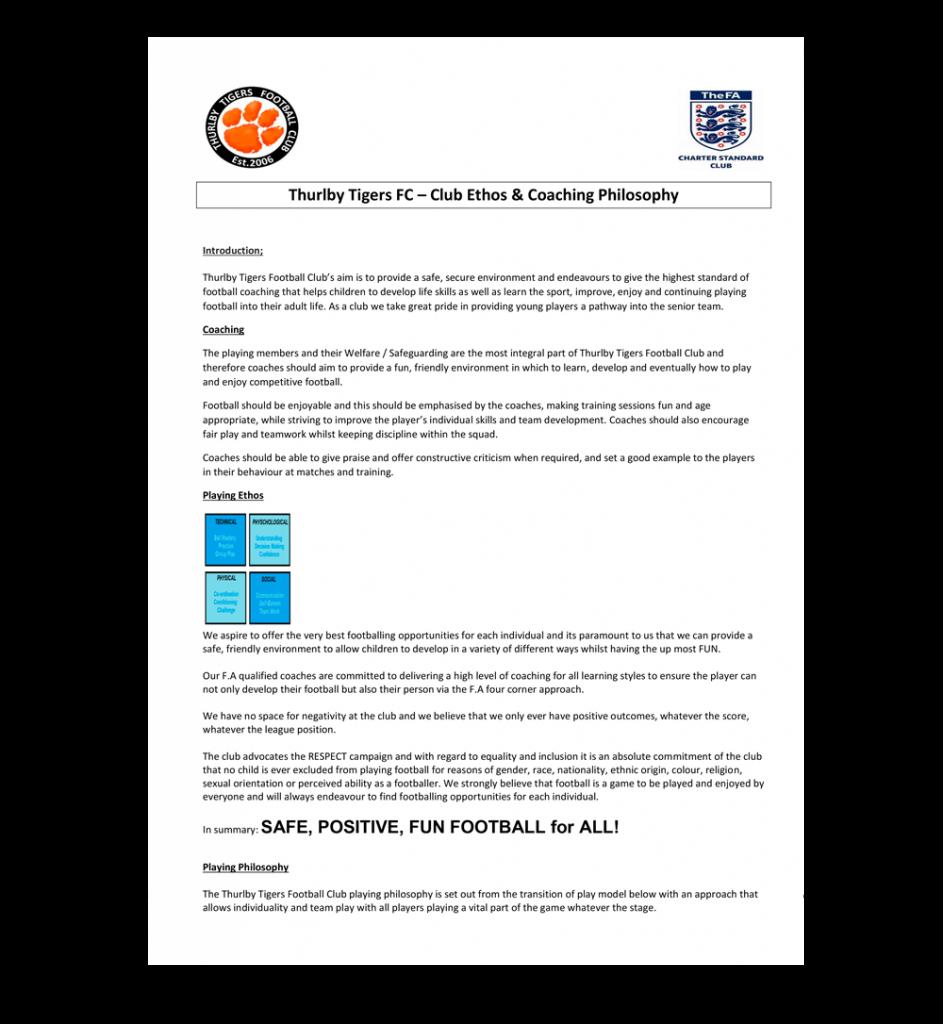 ttfc club ethos and coaching policy