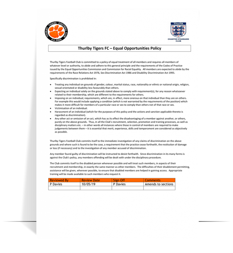 ttfc equal opportunities policy