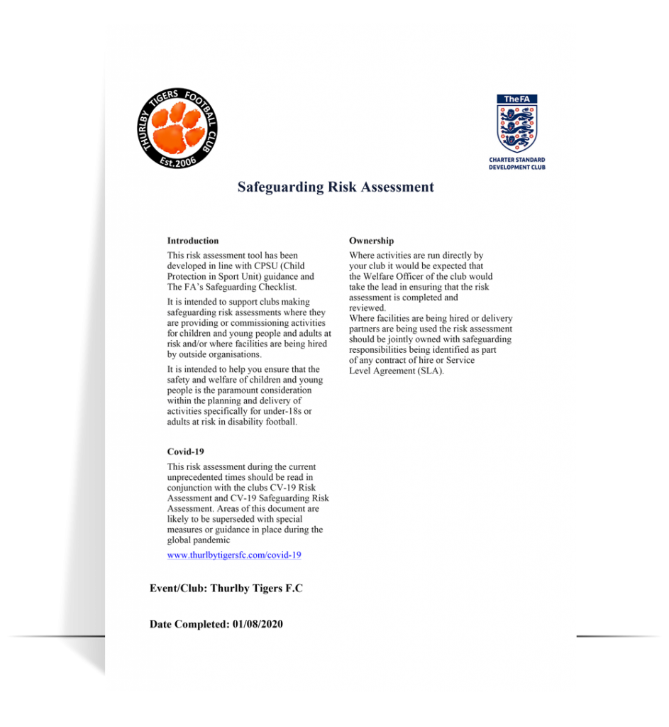 ttfc safeguarding risk assessment