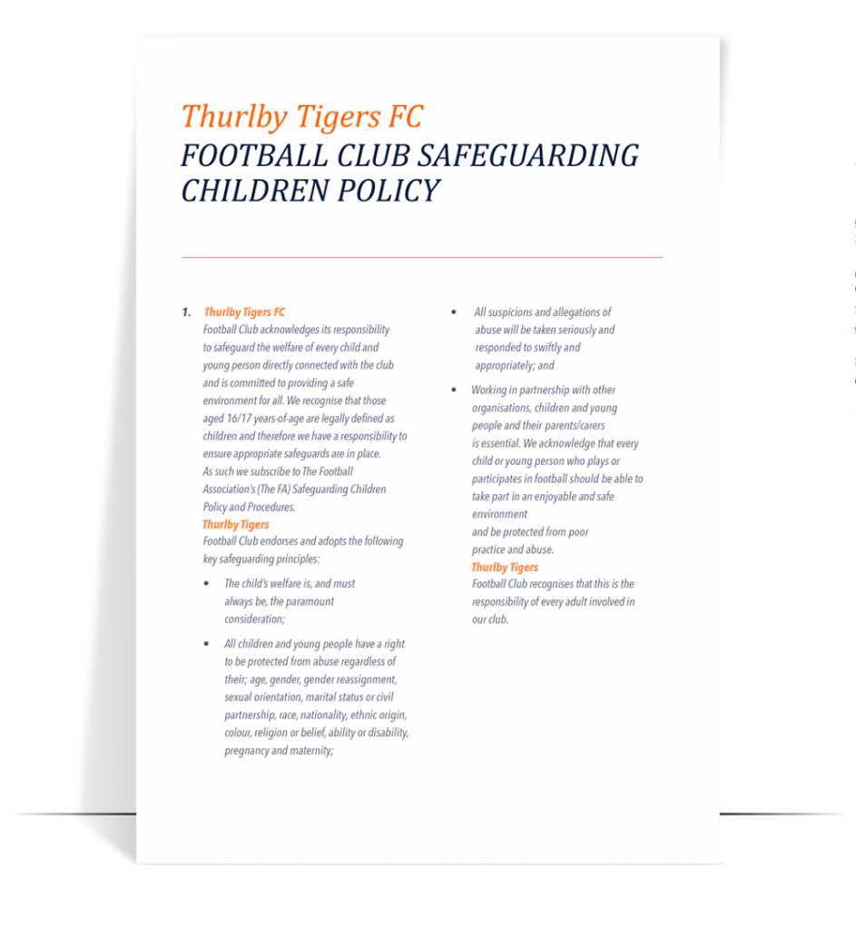 ttfc safeguarding policy for clubs with 16 17 year old players